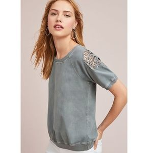 Anthropologie Stacy Lace Sweatshirt